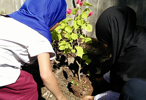 Planting Flower With Our  Orphan Girls