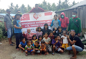 Aids Are Being Distributed To Earthquake Victim Indonesian People